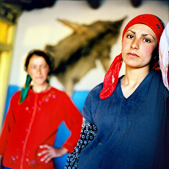Sisters in law at home. Almost everyone in the village is related as marriage to outsiders is frowned upon. Xinaliq village. Azerbaijan. 2006