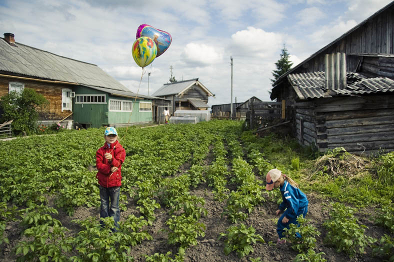 Children are playing in a potato field in a small village of Kenozero. For some time many people have lived on subsistence farming only and depend on a good yield to live through the winter months.