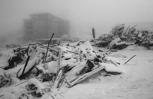 A former Tatar cafe, destroyed by court order on the plateau of Ay Petri mountain. December 2007