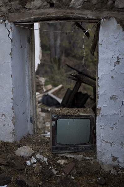 An old TV which is still in the shattered house of Heghush Petrosyan.