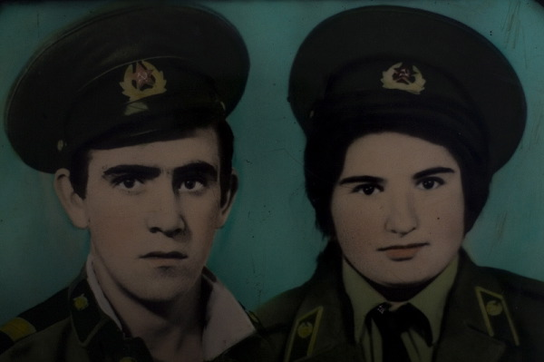 Photomontage of Valodia's and Marianush's portrait; they got it as a gift on their wedding. Valodia is victim of the war; he was killed in 1993 leaving four kids and a wife.