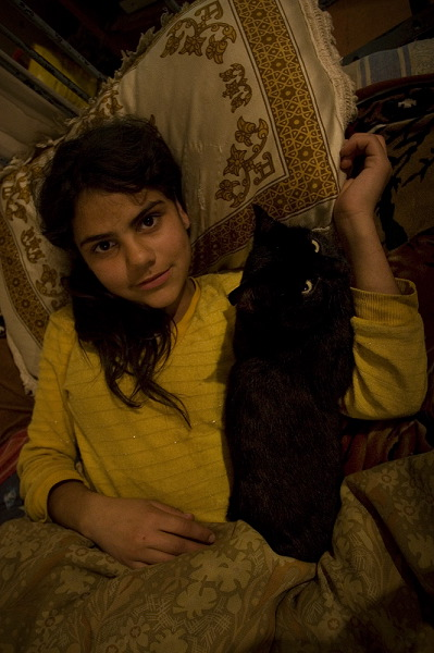 Girl with her cat.