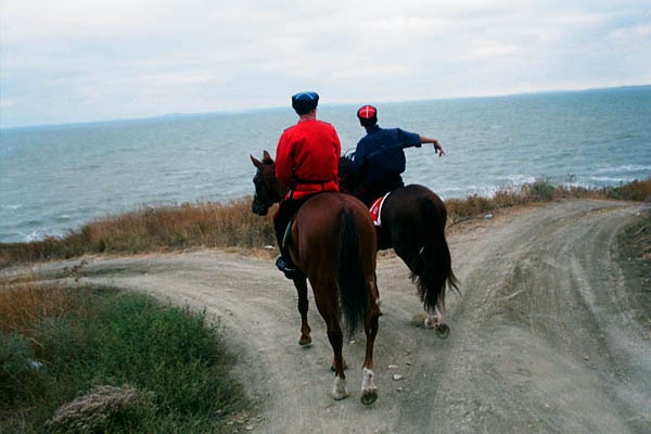 Cossacks from the equestrian team of the guard of honour by the Black sea. Taman. September 2010