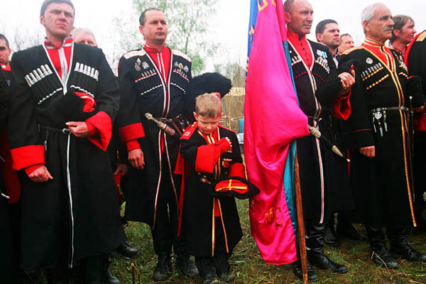 Cossacks at Kornilov's remembrance. Every year since 1991 on the right bank of Kuban river near Krasnodar, Cossacks gather to commemorate white general Larv Kornilov who died during the assault of Ekaterinograd (pre-revolutionary name of Krasnodar) in the Civil war of 1918. Stanitsa Elizavetinskaya. April 2010
