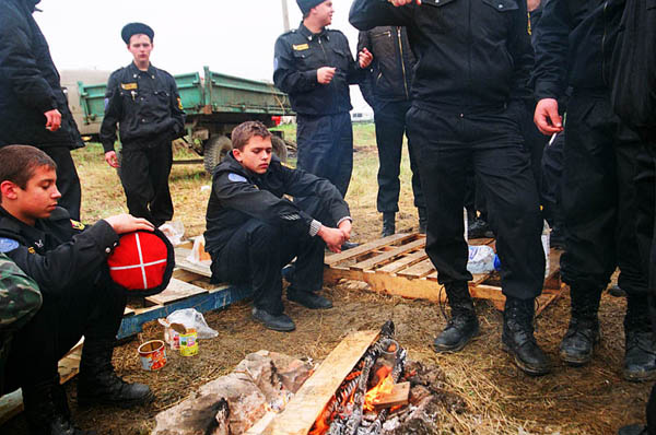 By the fire at military training. Stanitsa Elizavetinskaya. April 2010