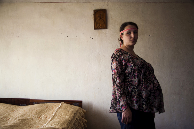 2011. In the village of Aygestan. Irina Grigoryan, 27, is in the 8th month of pregnancy. This is her first child. She lost one child during the 6th month of pregnancy.