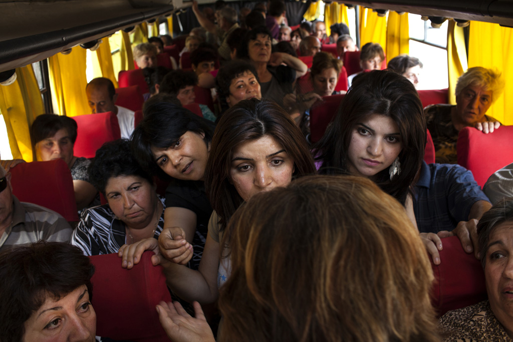 The whole village in one big bus came to support her to protest in front of the presidential house in Yerevan