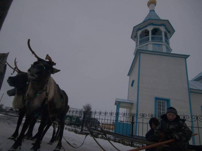 Generally speaking, the traditional religion of the Nenets is paganism, shamanism. But after perestroika missionaries started to arrive in the villages where there were settled reindeer herders and converting them to Orthodoxy. A few years ago an Orthodox church was built in Nes.