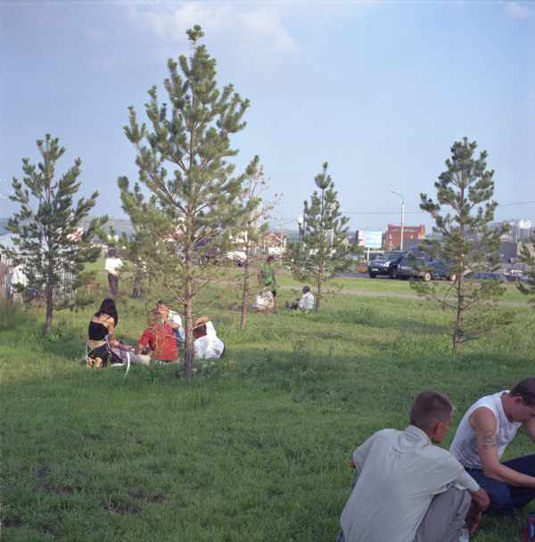 People picnicking on the occasion of the Metalworkers' Day – a popular local holiday.