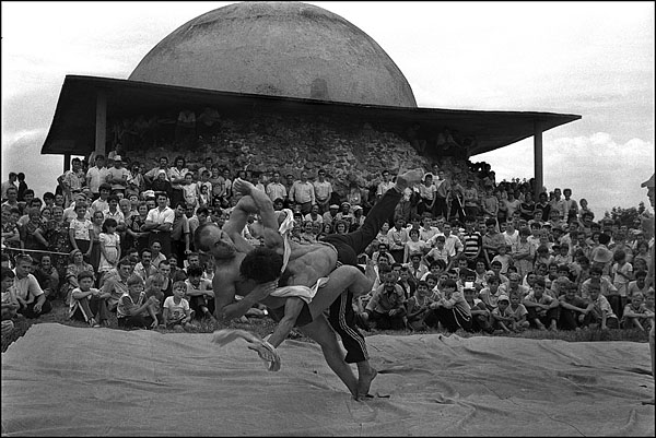 National Tatar wrestling in the ancient settlement of Bolgar on the river Volga, Tatarstan.