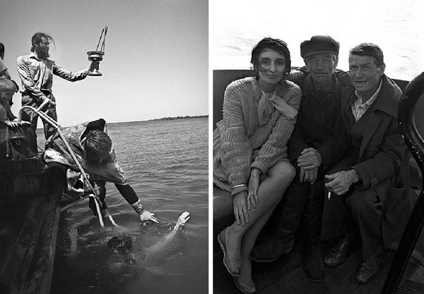 left. A сhristening on the Volga, Volgograd. Right, passengers on the small ship