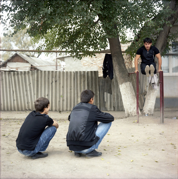 Young men in central Grozny, Chechnya